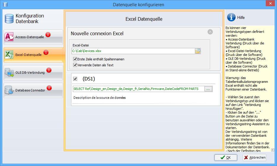 Konfiguration Datenbank
