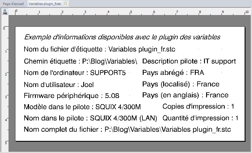 Informations Variables