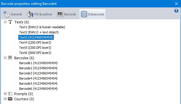 Barcode datasource
