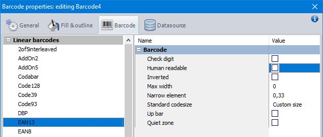 Barcode properties